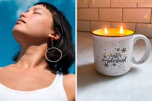 to the left: a model wearing chain earrings that connect to a hoop, to the right: a campfire mug candle