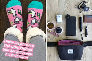 """on left photo of thick socks with text """"these slippers are the only things that actually keep my feet warm"""" and on right reviewer photo of Herschel hip pack"""