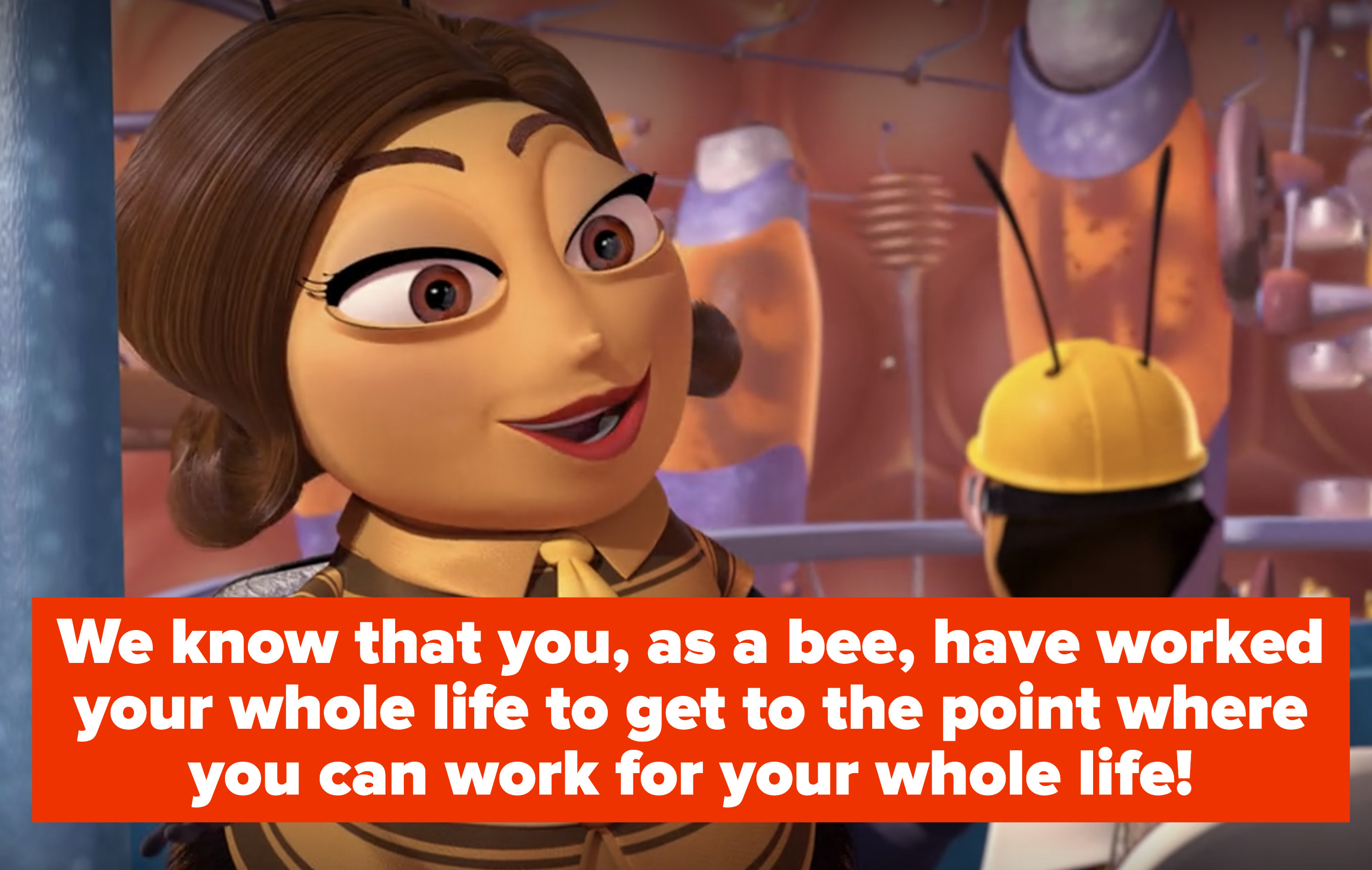 """a woman giving a tour of the hive says """"We know that you, as a bee, have worked your whole life to get to the point where you can work for your whole life!"""""""