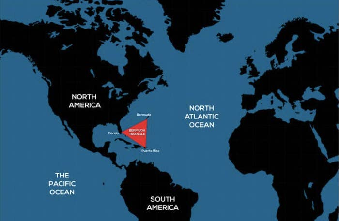 World map showing the location of the Bermuda Triangle