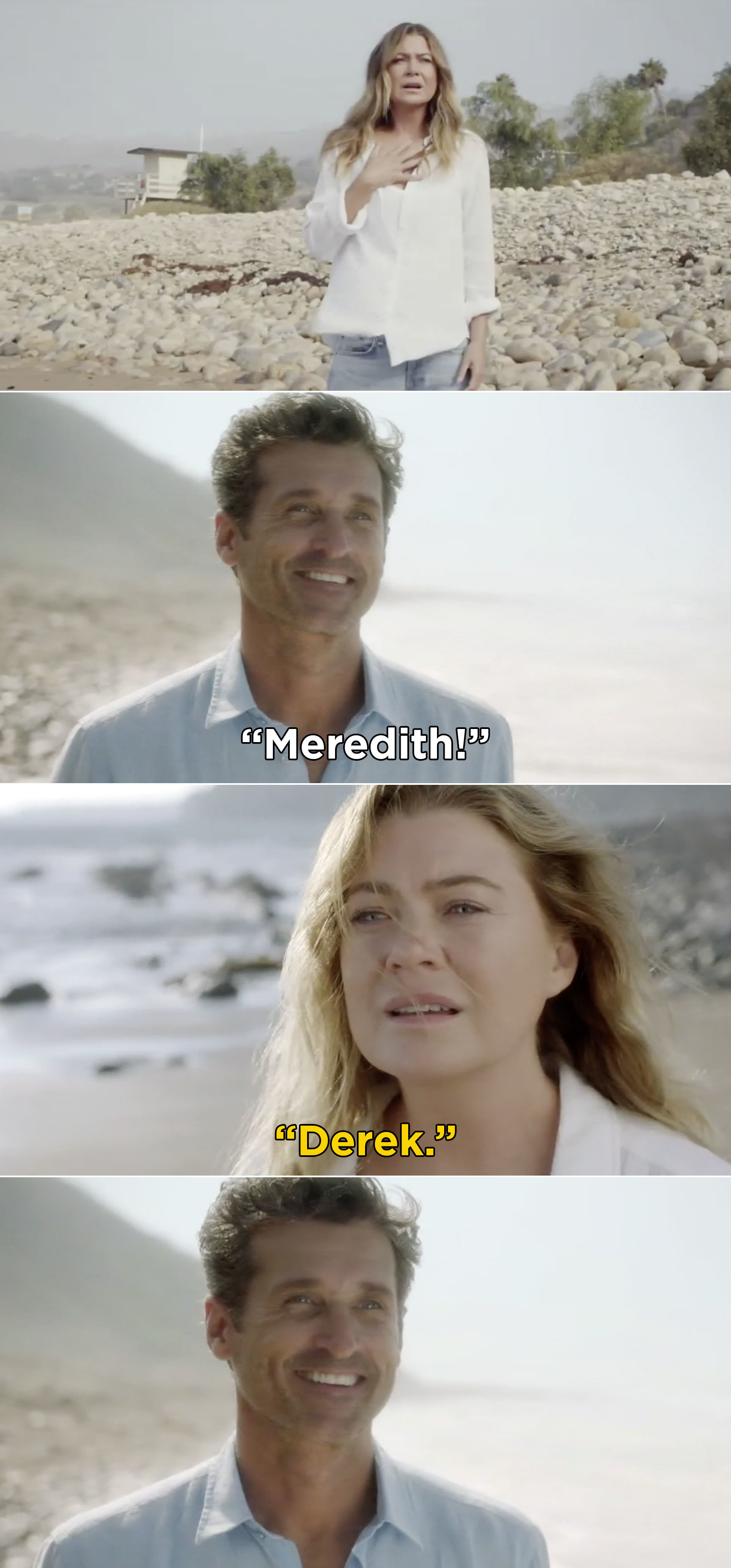 Meredith turning around on a beach and spotting Derek, and Derek saying her name and smiling