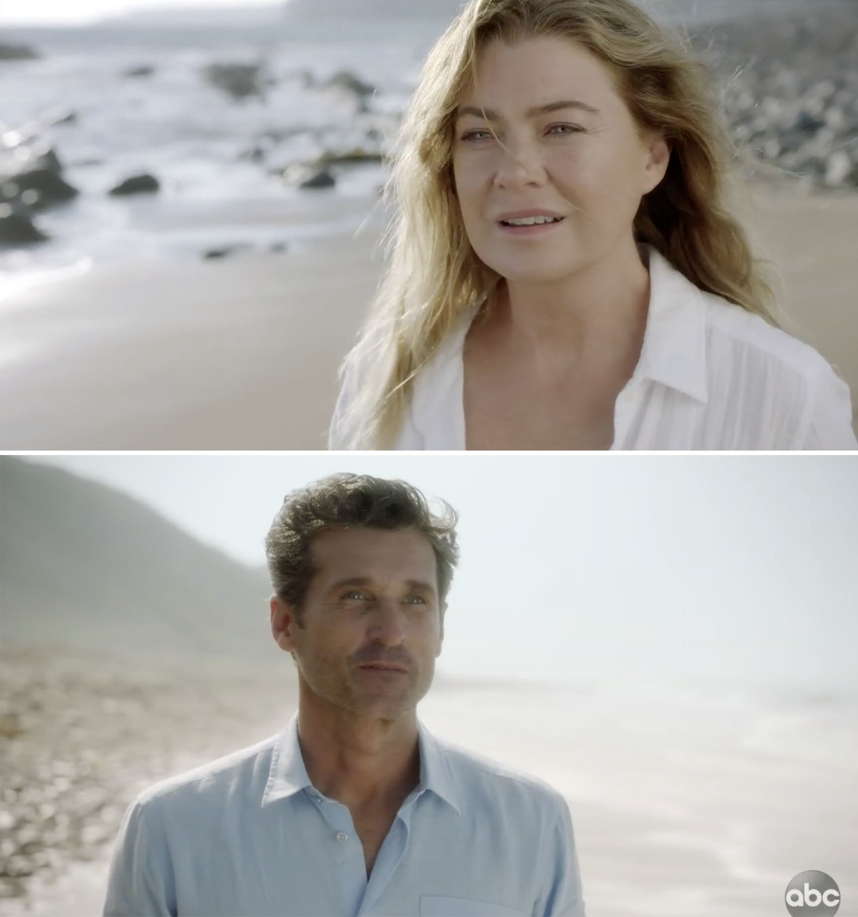 Meredith and Derek staring at each other