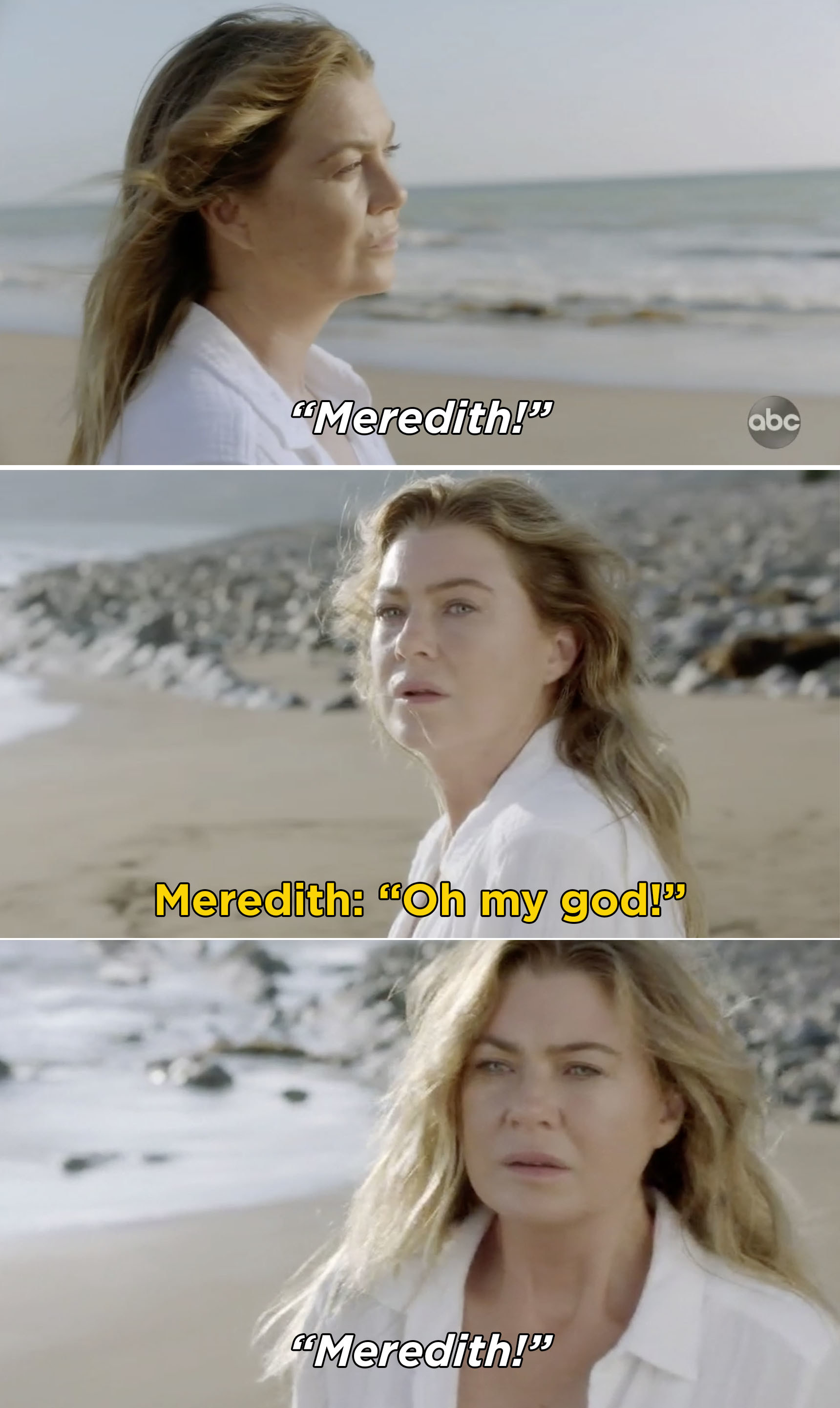 "Someone saying ""Meredith"" and Meredith saying, ""Oh my god"""