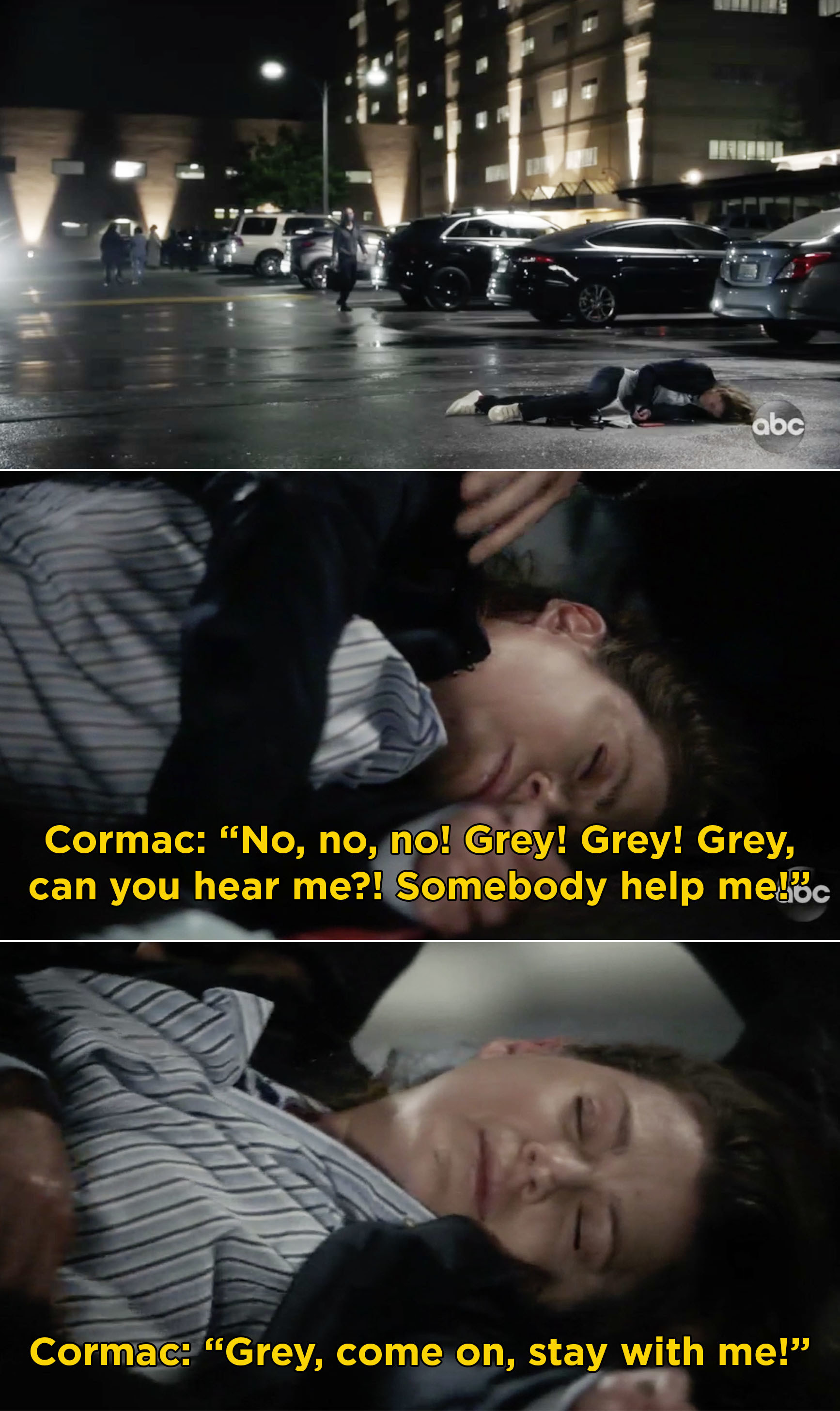"""Cormac reaching down to Meredith, who is unconscious, and saying, """"Grey, can you hear me? Somebody help me!"""""""