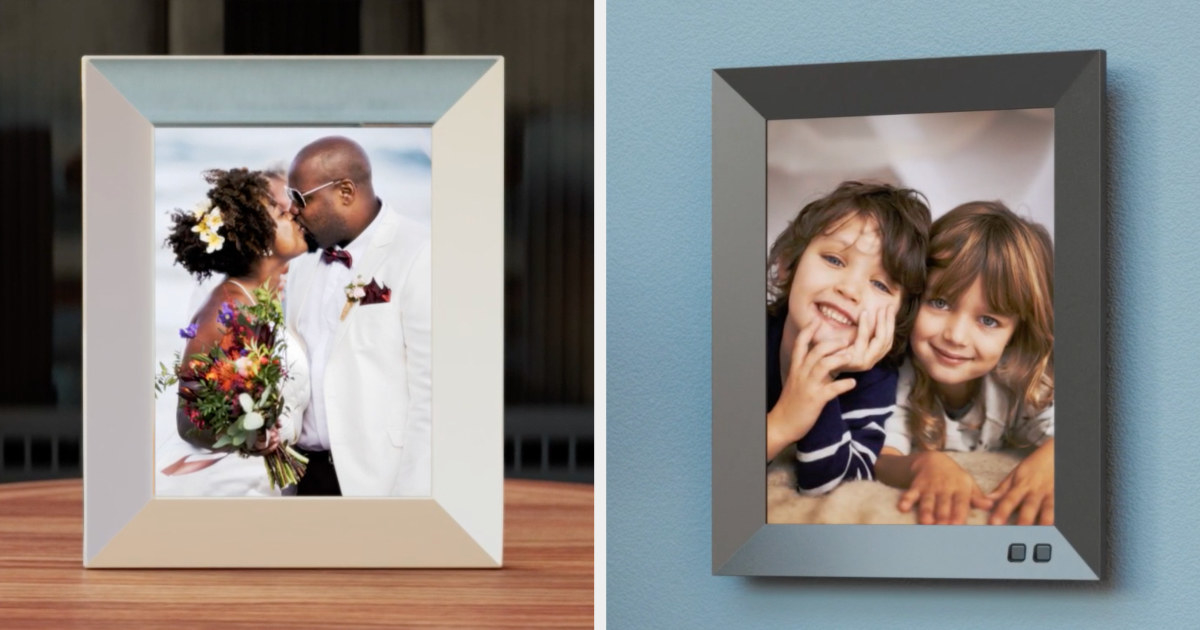 Silver picture frame showing a couple kissing at their wedding, and a grey picture frame showing kids smiling