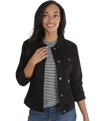 Model wearing black jean jacket