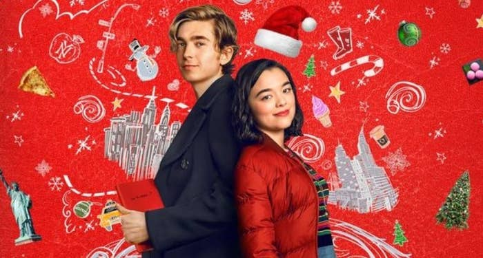 Poster for Dash and Lily: the characters stand back-to-back against a red background with illustrations of Christmas and New York covering it
