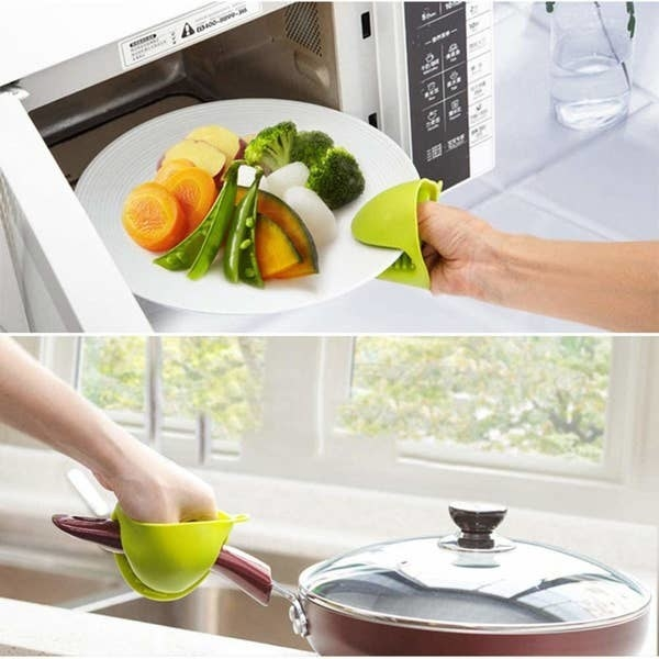 Top: A person using the mittens to take a hot plate out of the microwave; Bottom: A person using the mittens to hold a hot pan handle.