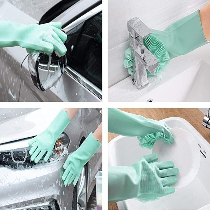 Teal coloured washing gloves used to clean a car, dishes, sinks and taps.