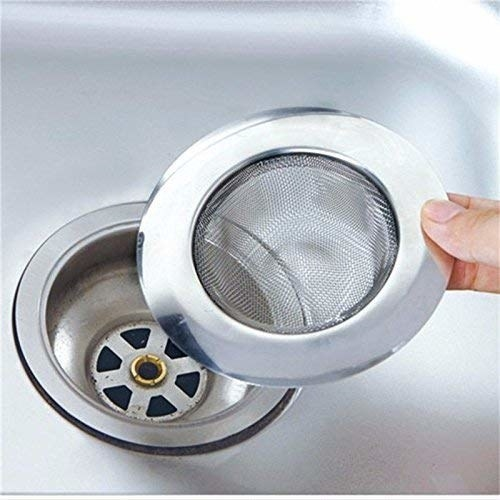 Metal sink strainer.