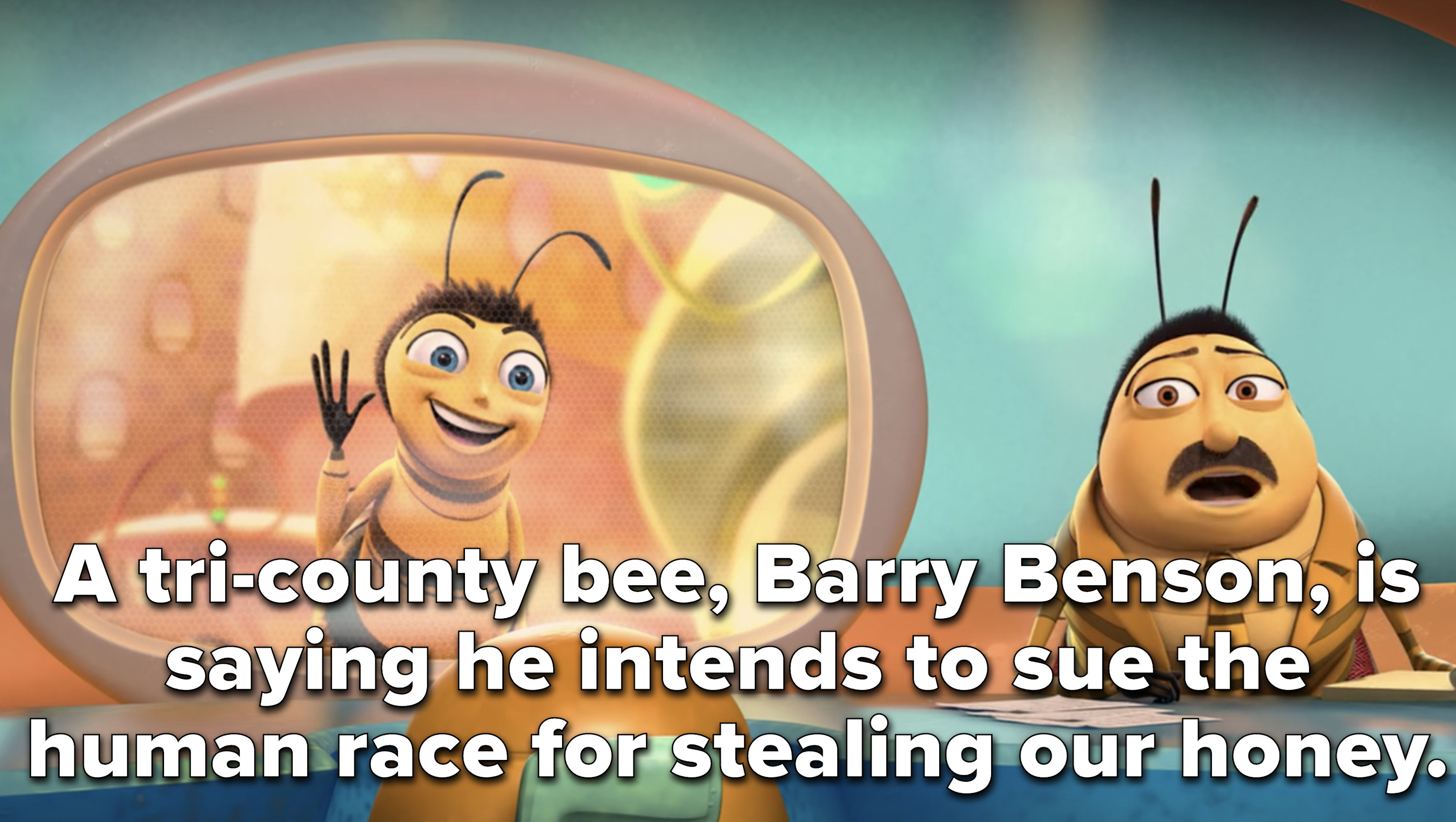 a news reporter says Barry is planning to sue the human race for stealing honey