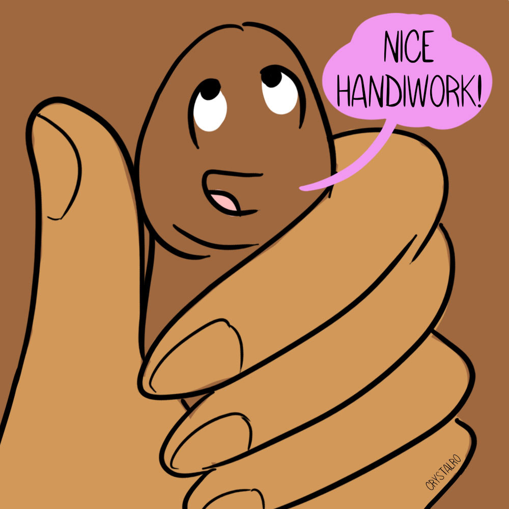 "A drawing of a hand holding a penis saying, ""Nice handiwork"""
