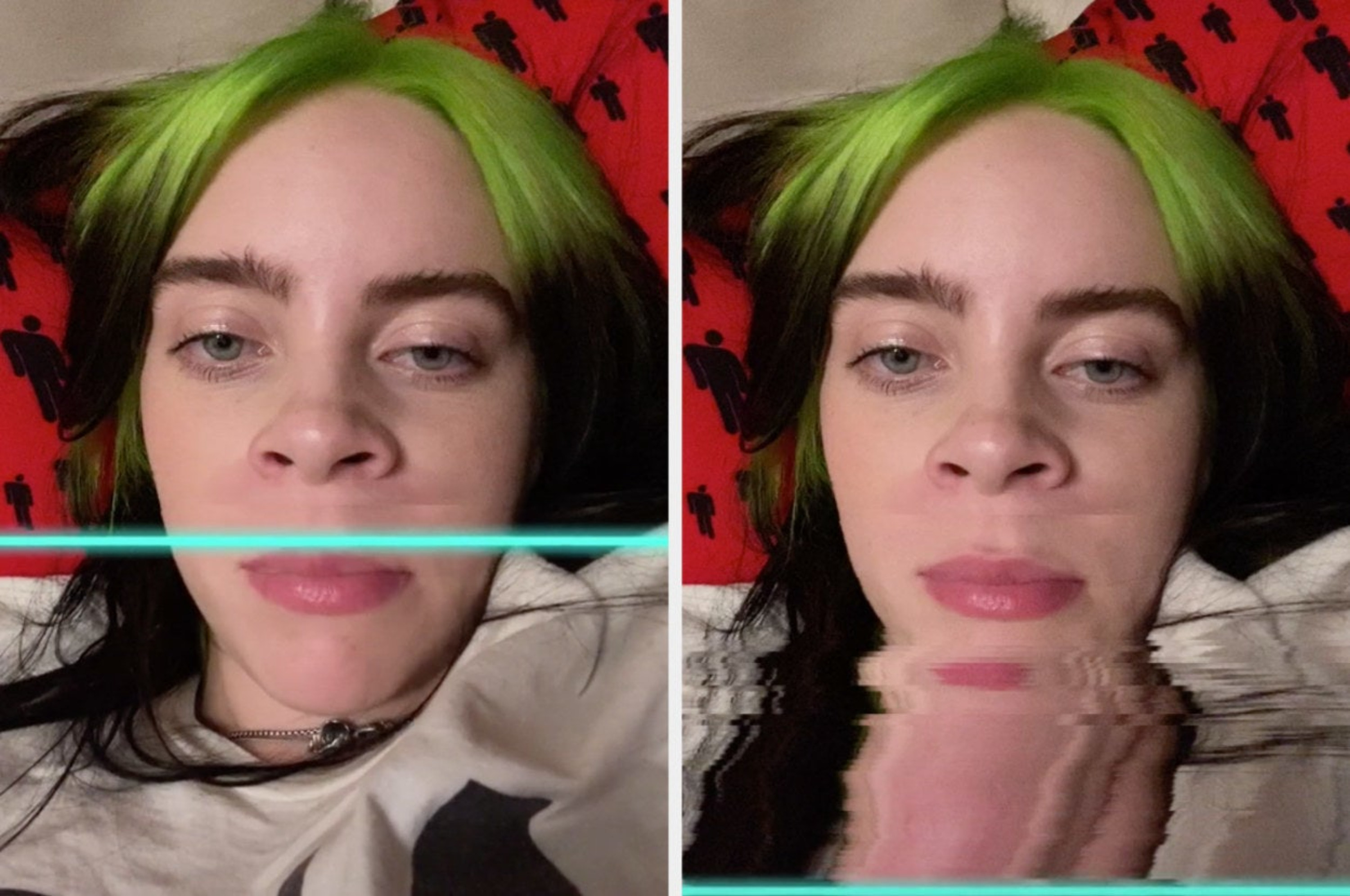 Billie uses the effect and laughs at her new nose, which looks dramatically different than her original nose