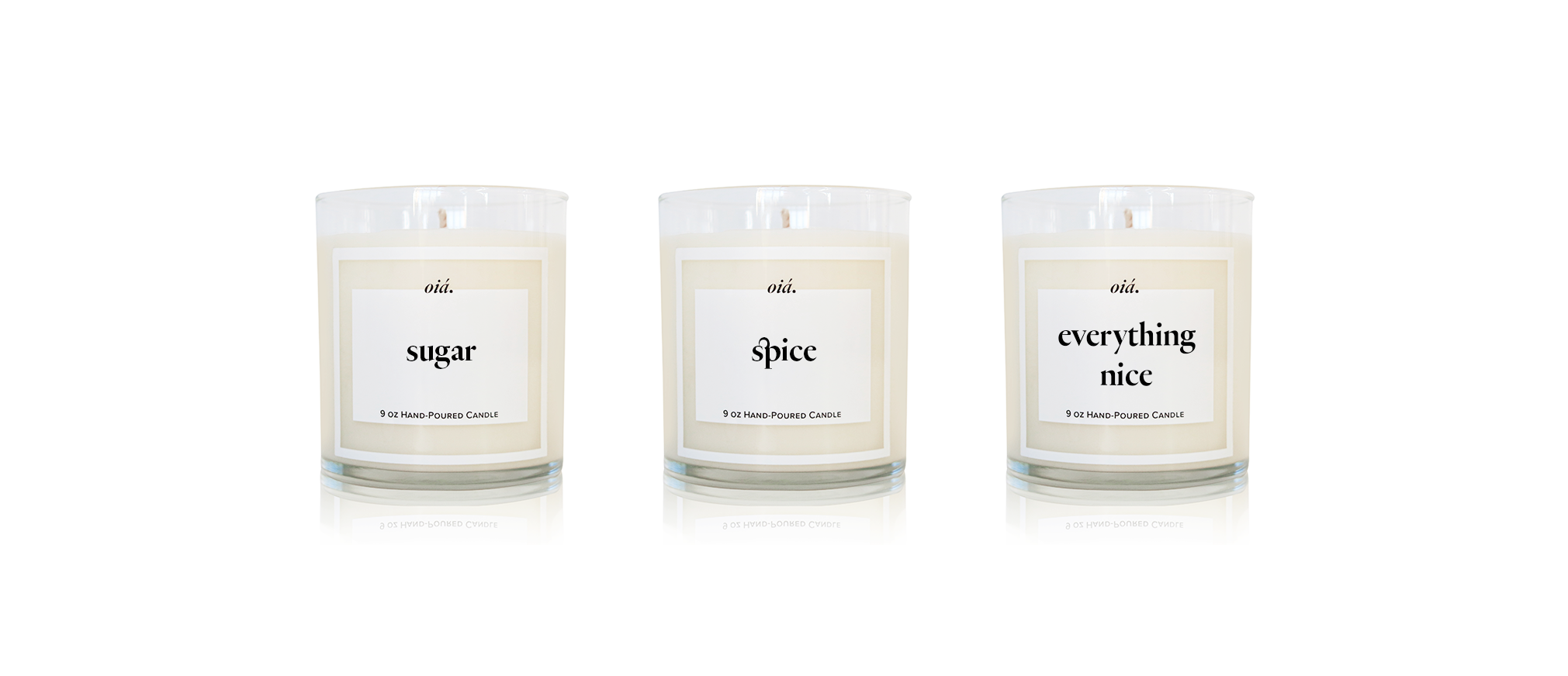 """three glass candles that say """"sugar, spice, everything nice"""" when placed next to each other"""