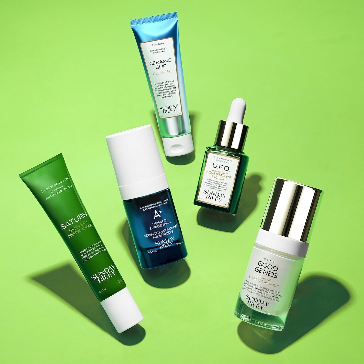 The five bottles of skincare products included in the set