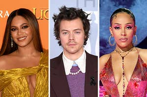 Bayonce is on the left with Harry Styles in the center and Doja Cat on the right