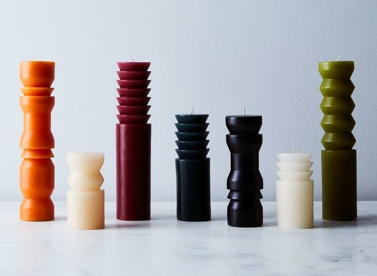Sculptural pillar candles lined up