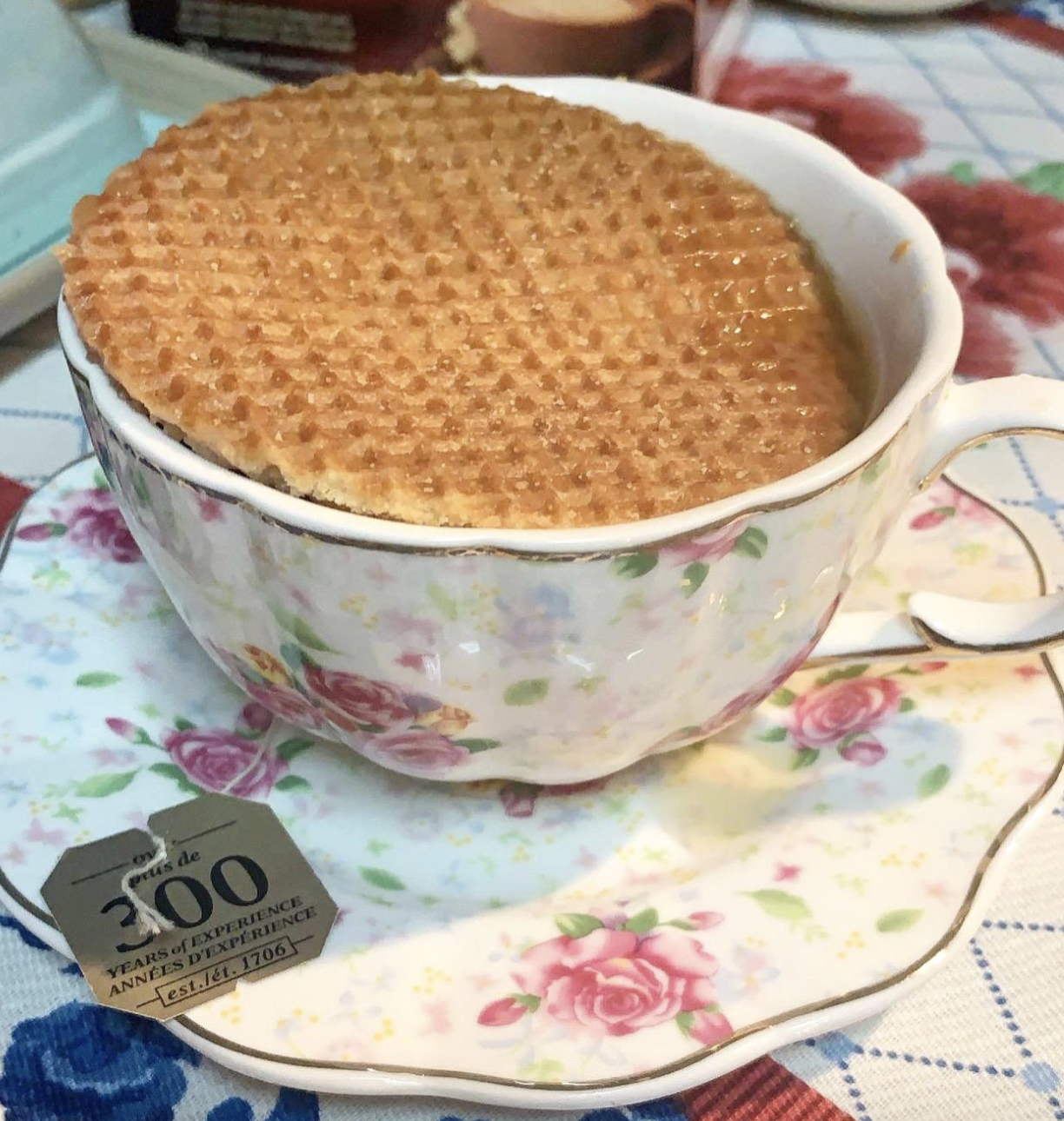 reviewer photo of waffle on tea cup