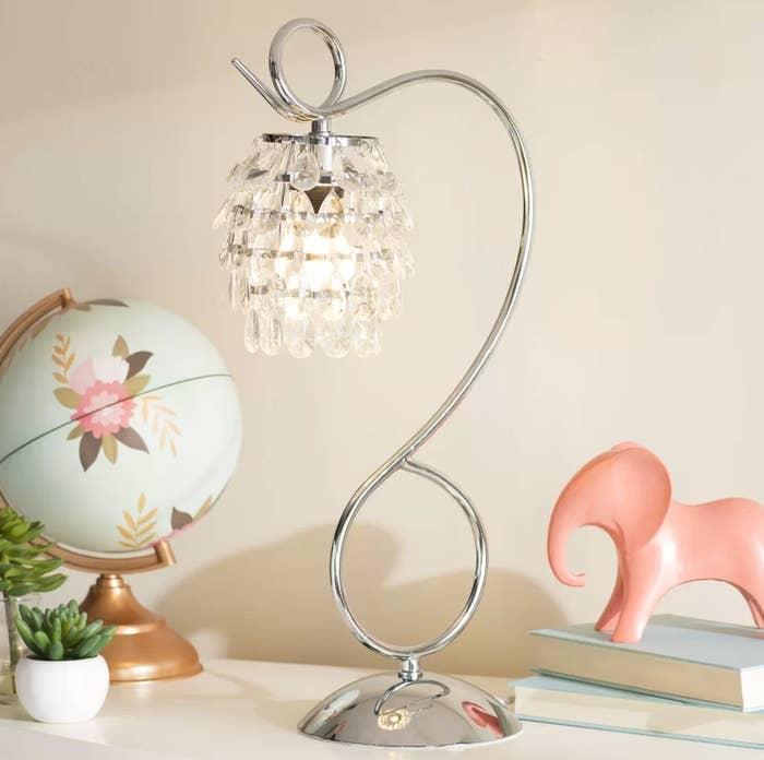 the silver chandelier desk lamp