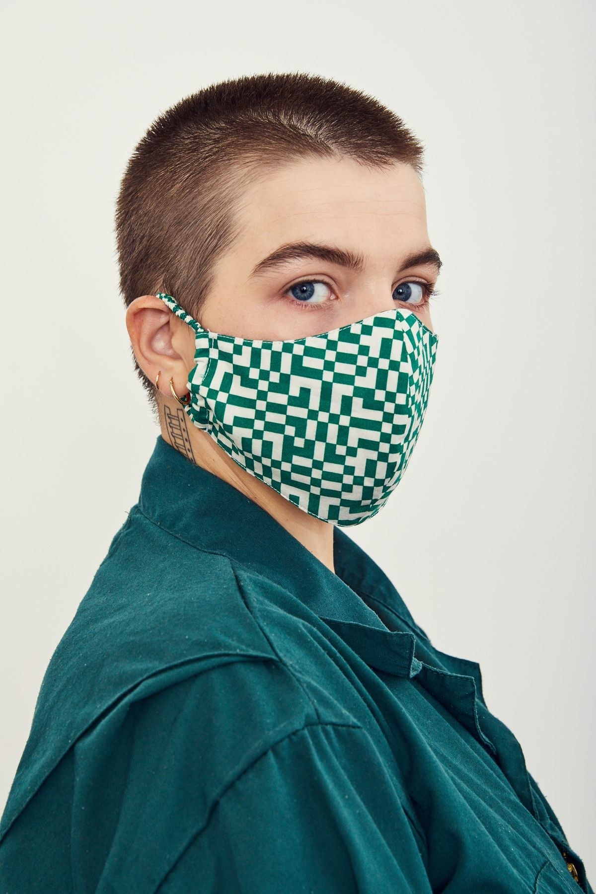 Model wearing a graphic face mask