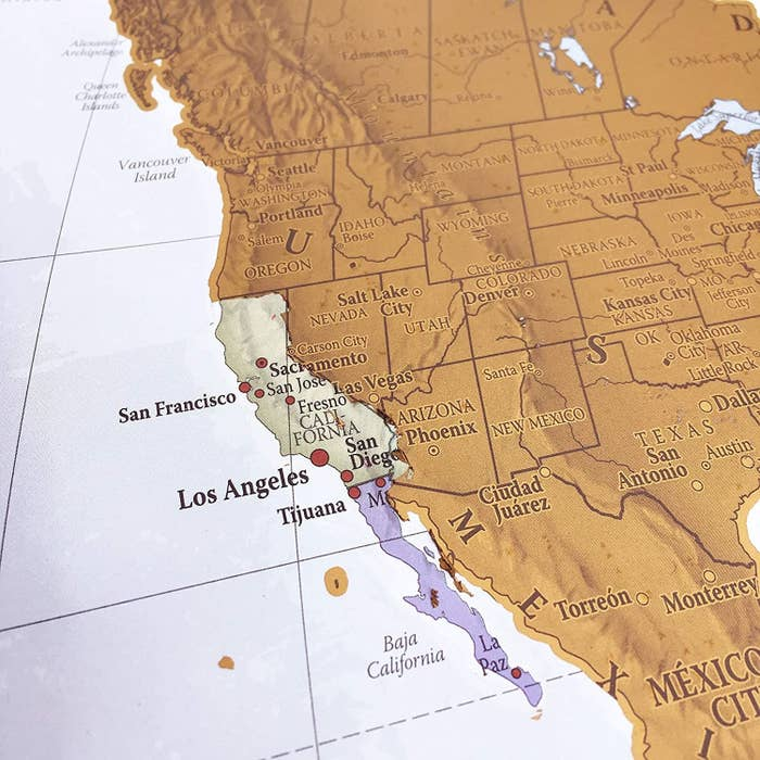 The map zoomed in on the state of California, which is scratched off