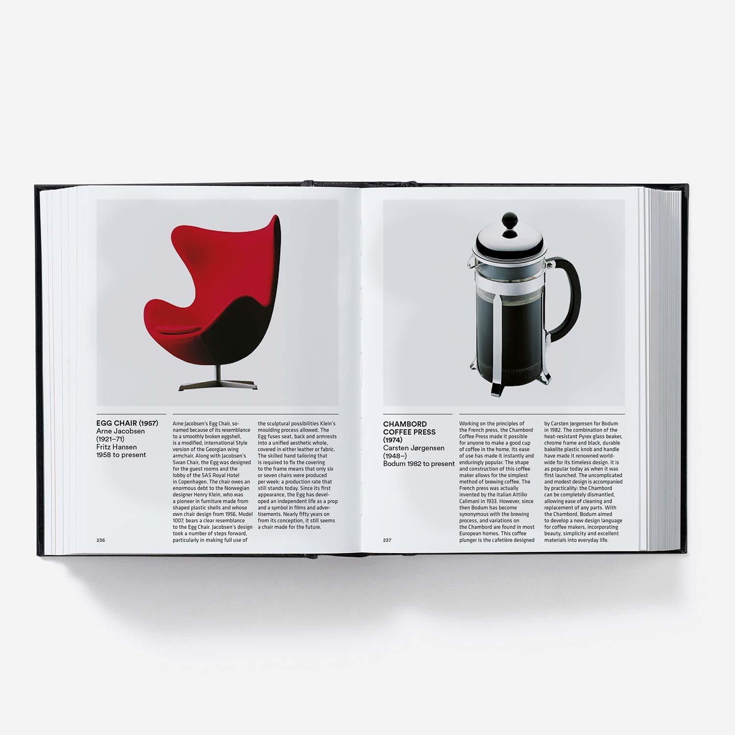 Design Book open to Egg Chair and Chambord Coffee Press