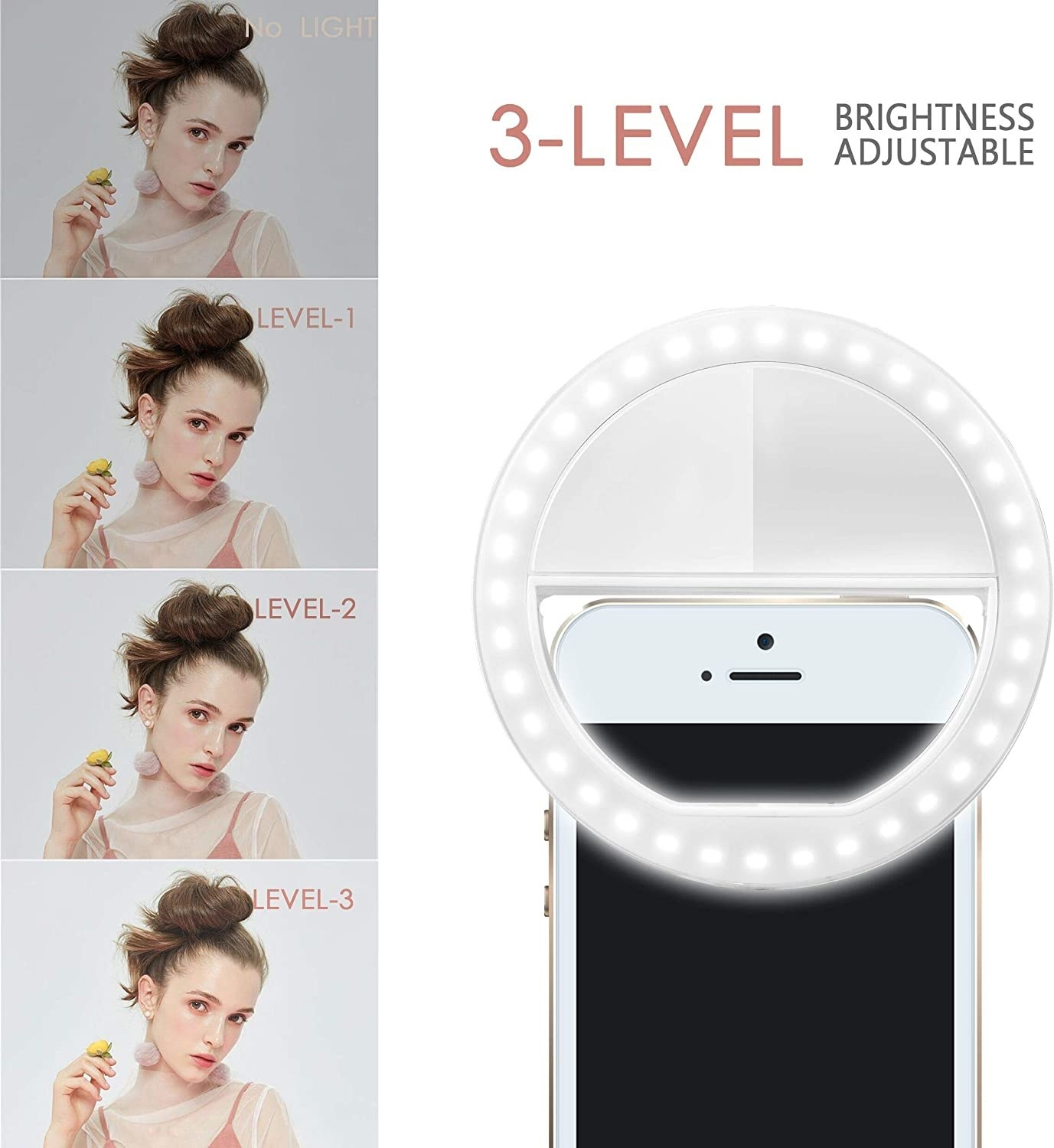 The ring light clipped on a phone, plus an image showing the three light settings
