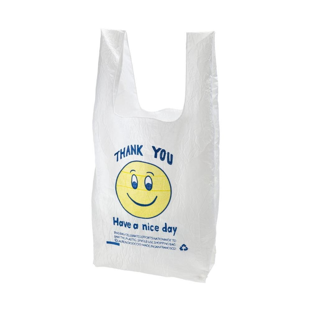 "Reusable baggy with smiley face ""have a nice day"" on it"
