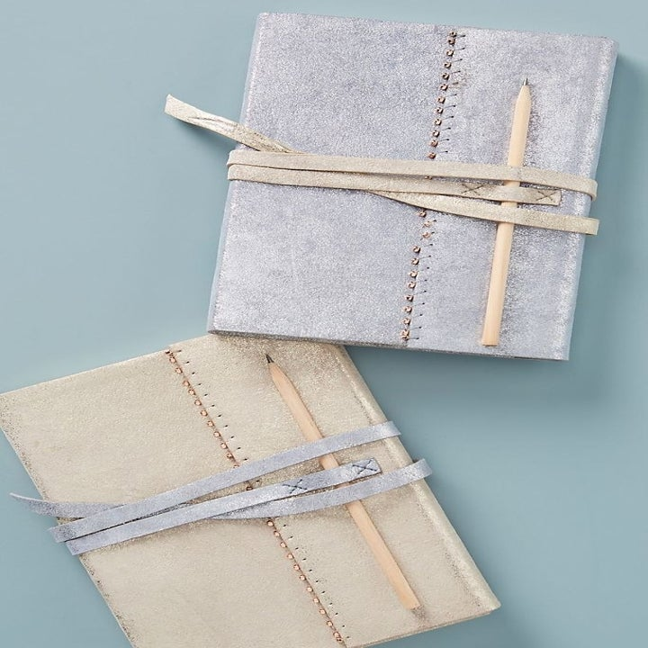 the leather journals in silver and beige