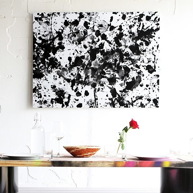 A black and white abstract painting made with the kit