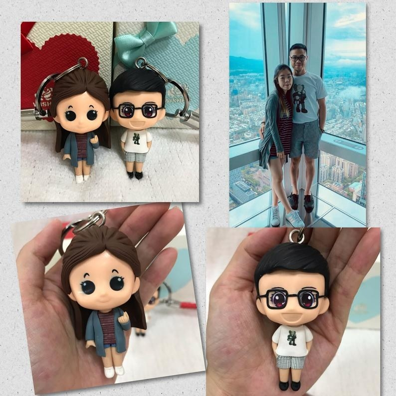 A real-life couple with their keychain mini lookalikes