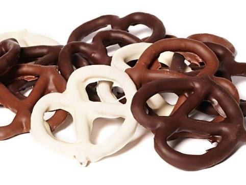 The milk white and dark chocolate pretzels