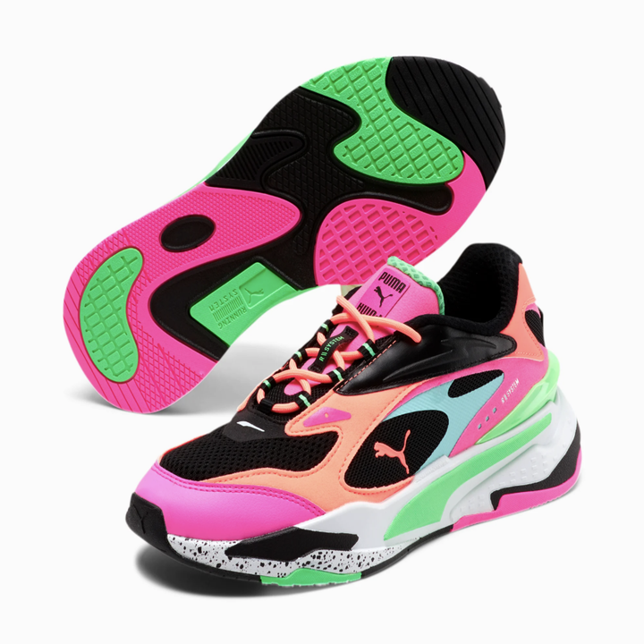 the sneakers are black, neon green, pink, blue, and orange