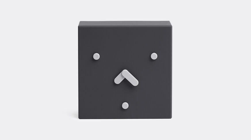 A black square face clock