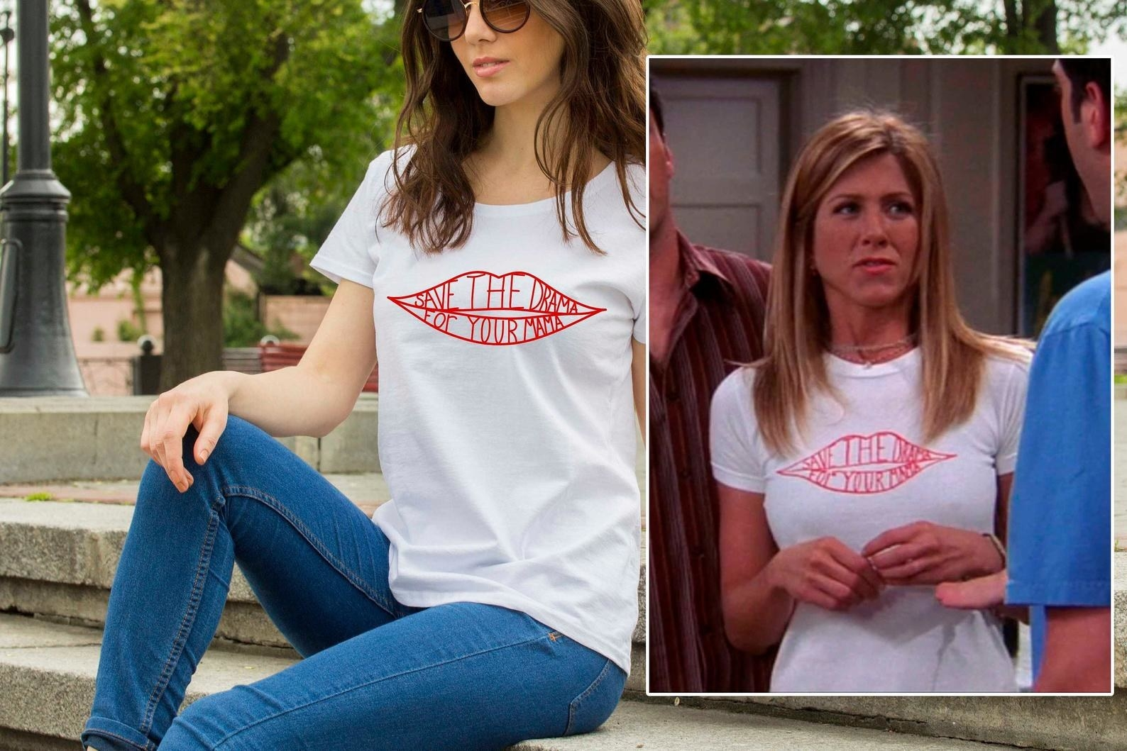 a model and rachel green both wearing a white tee with lips on it and inside the lips it says save the drama for your mama
