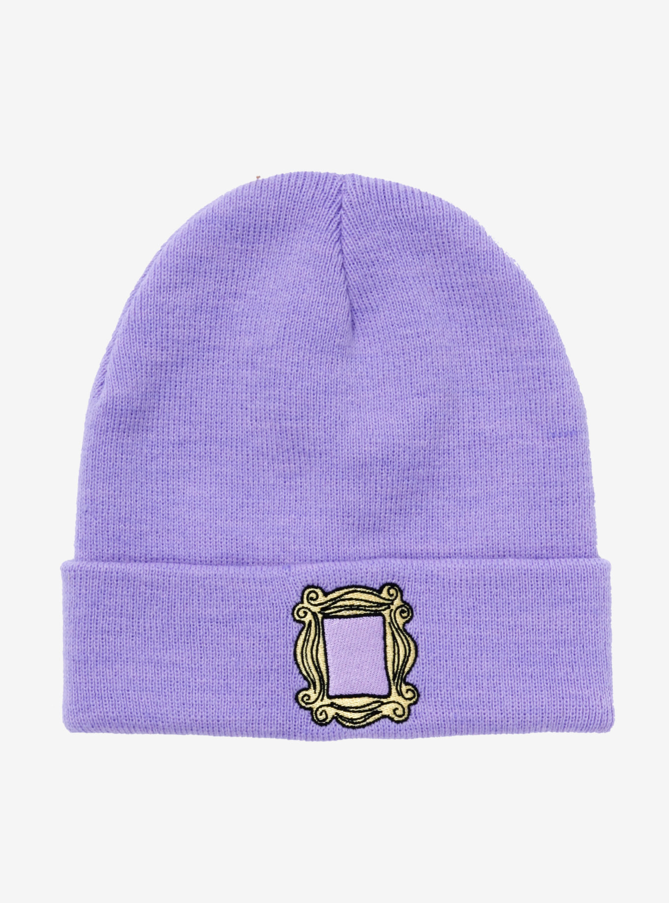 a purple cuffed beanie with the friends frame sewn onto it