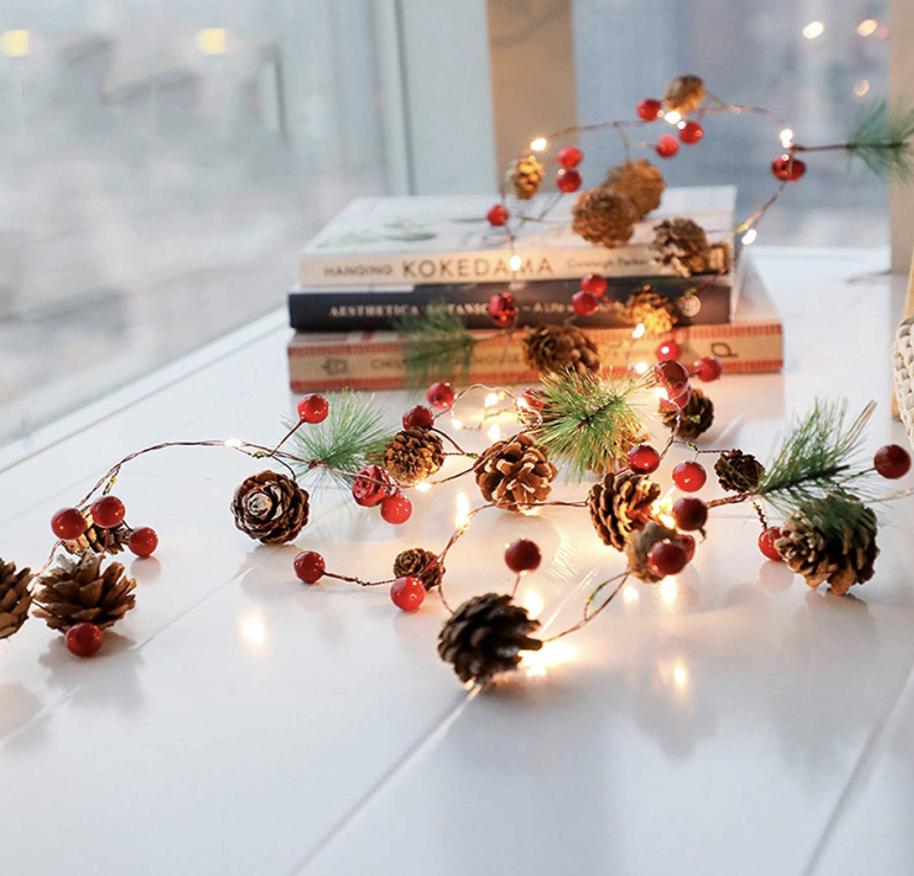 Christmas pine cone light garland