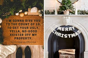 Left image: Home Alone inspired floor mat, right image: Merry Christmas garland