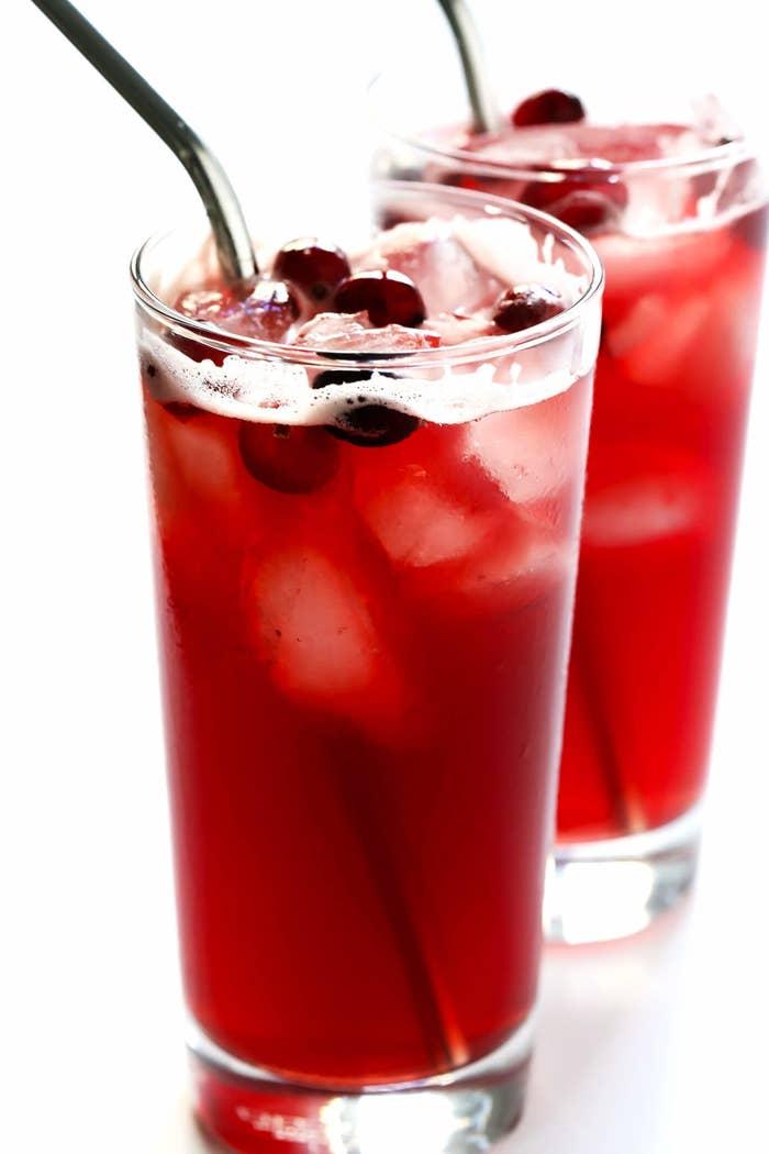 Glasses of cranberry bourbon fizz