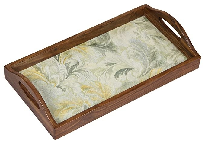Wooden tray with a floral green print.