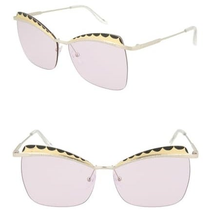 light pink lens sunglasses with art deco cat eye detail at the top