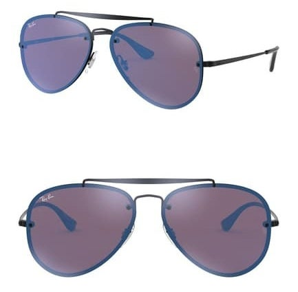 side, then front angle of aviator-style sunglasses with navy lenses