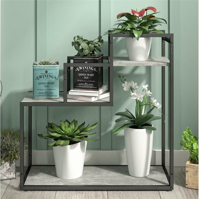 plant stand with metal frame and plants on the particleboard shelves