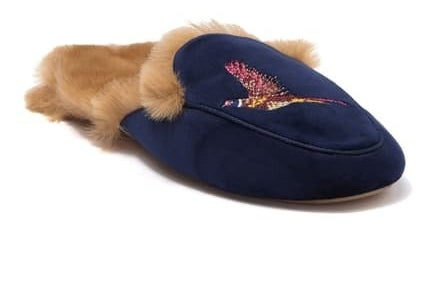 backless slipper with faux fur lining, embroidered bird on toe