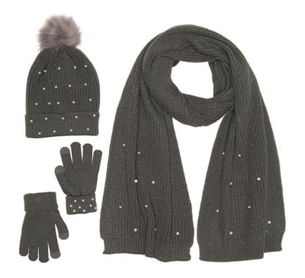 gray winter hat, gloves, scarf in gray with faux pearls on them as accents