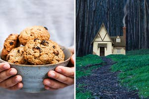 Someone is holding a batch of cookies on the left with a cottage on the right