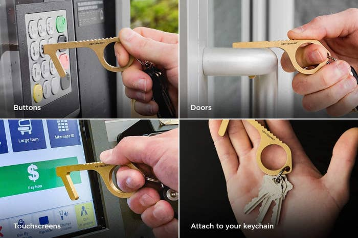 series of photos showing the key ring CleanKey to push buttons, pull doors, and touch screens