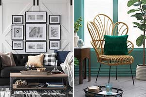 on the left a coffee table and on right a rattan chair