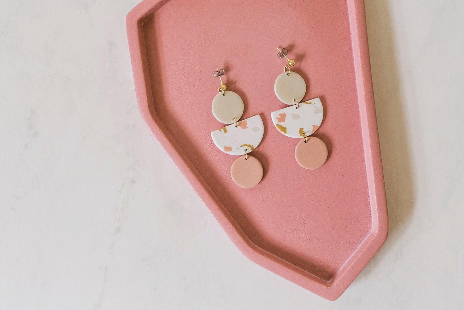 pair of clay earrings