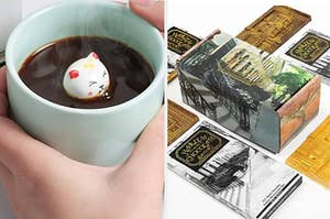 On the left, hands holding a mug with a cat figurine in it. On the right, Harlem Chocolate Factory chocolate bars